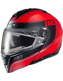 HJC i90 Electric Snowmobile Helmet Davan Red