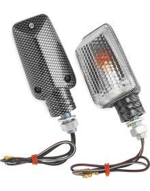 BikeMaster Mini Stalk Mount Turn Signals Carbon/Clear