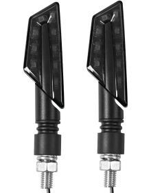 BikeMaster Tanto Front LED Stalk Mount Turn Signals Black/Amber