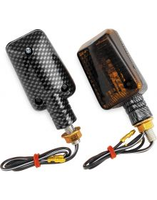 BikeMaster Mini Stalk Mount Turn Signals Carbon/Smoke