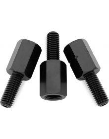BikeMaster Mirror Adaptors Black 10mm Female To 8mm Male, 2-Right 1-Left Thread