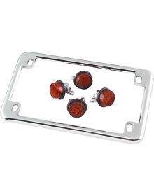 Motorcycle License Plate Frame Chrome W/ Red Reflectors