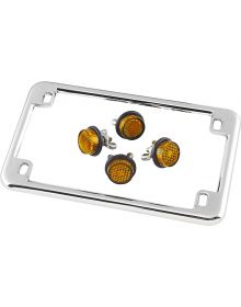 Motorcycle License Plate Frame Chrome W/ Amber Reflectors