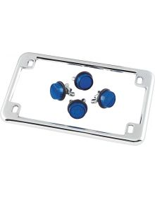 Motorcycle License Plate Frame Chrome W/ Blue Reflectors