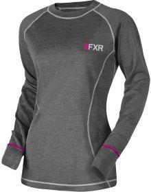 FXR Vapour 50% Merino Womens Longsleeve Shirt Char/Fuchsia