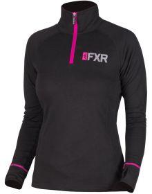 FXR Vapour 20% Merino 1/4 Womens Zip-Up Sweatshirt Black/Fuchsia