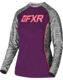 FXR Helium X Tech Womens Longsleeve Shirt Plum/Coral