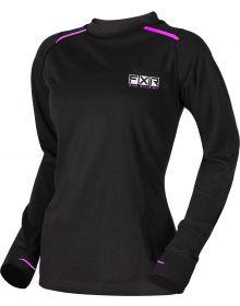FXR Vapour 20% Merino Wool Womens Longsleeve Shirt Black/Elec. Pink