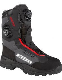 Klim 2021 Adrenaline Pro GTX Gore-Tex BOA Snowmobile Boot Asphalt/High Risk Red