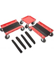 Sled Caddy Snow Dollies Steel with Rubber Casters Red