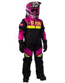 FXR Helium Youth Monosuit Black/Fuchsia/Hi Vis