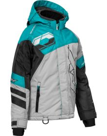 Castle X Code Youth Snowmobile Jacket Silver/Turquoise/Charcoal