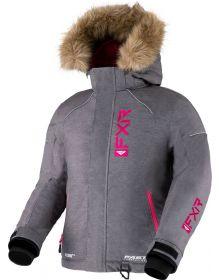 FXR 2022 Fresh Youth Snowmobile Jacket Mid Grey Heather/Fuchsia