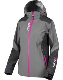 FXR Vertical Edge Trilaminate Womens Jacket Charcoal/Fuchsia