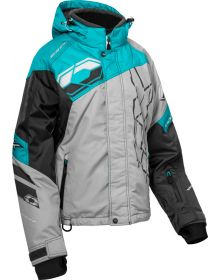 Castle X Code Womens Snowmobile Jacket Silver/Turquoise/Charcoal