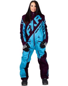 FXR CX F.A.S.T Insulated Womens Monosuit Sky Blue/Plum