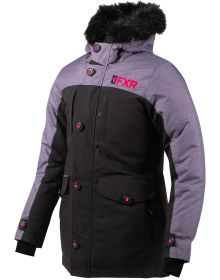 FXR Svalbard Womens Parka Jacket Black/Mid Grey Heather/Electric Pink