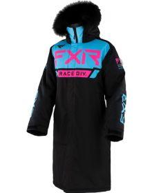 FXR Warm Up Womens Coat Black/Sky Blue/Elec Pink