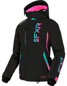 FXR 2022 Evo FX Womens Snowmobile Jacket Black/Mint-E Pink Fade