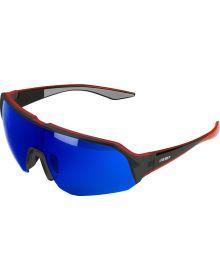 509 Shags Sunglasses Matte Transluscent Red/Polarized Dark Blue Mirror Smoke Tin