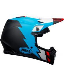 Bell 2021 MX-9 Mips Helmet Strike Matte Black/Blue/White
