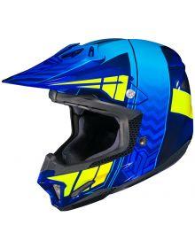 HJC CL-X7 Helmet Cross Up Blue/Neon Yellow