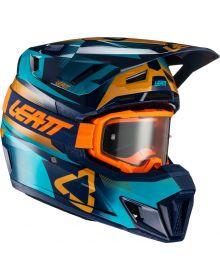 Leatt Moto 7.5 V21.1 Helmet Kit Blue (DOT+ECE) includes 4.5 Velocity Orange Gogg