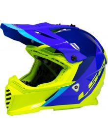 LS2 Gate Launch Helmet Blue/Hi Vis