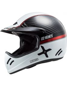 LS2 Xtra Vintage Style Carbon Fiber MX Helmet Yard White Re