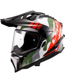 LS2 Explorer Camo X Helmet Gloss Red/White