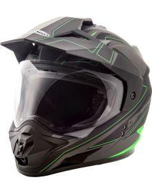Gmax GM11 Expedition Helmet Flat Black/Hi-Vis Green