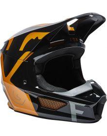 Fox Racing V1 Skew Youth Helmet Black/Gold