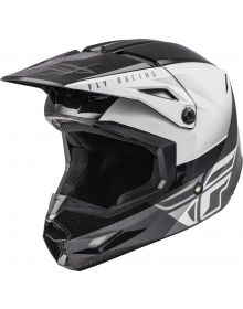 Fly Racing 2021 Kinetic Youth Helmet Straight Edge Black/White