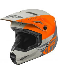 Fly Racing 2021 Kinetic Youth Helmet Straight Edge Matte Orange/Grey