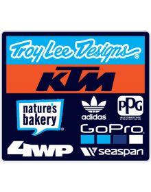 Troy Lee Designs TLD KTM Team Sticker Cyan/Orange/Black 4in x 3.5in