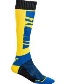 Fly Racing  MX Thin Youth Socks Navy/Yellow