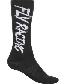 Fly Racing MX Pro Thin Socks Black/White