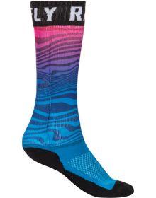 Fly Racing MX Pro Thin Socks Blue/Pink/Black