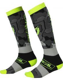 O'Neal 2022 Camo MX Socks Grey/Neon Yellow