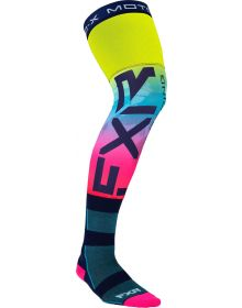 FXR Riding Knee Length Socks Hi-Vis/Blue  1-Pair