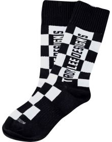 Troy Lee Designs GP MX Thick Youth Socks Checkers Black