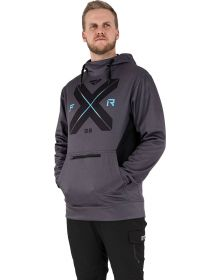 FXR Authentic Pullover Hoodie Sweatshirt Heather Charcoal/Sky Blue