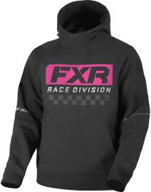 FXR Race Division Tech Pullover Hoodie Youth Sweatshirt Black/Elec. Pink