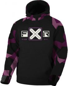 FXR Maverick Tech Pullover Hoodie Youth Sweatshirt Plum Camo/Black