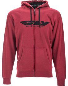 Fly Racing Corporate Zip-Up Sweatshirt Burgundy/Heather