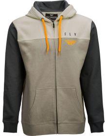 Fly Racing Horizontal Zip Up Sweatshirt Tan/Khaki/Charcoal