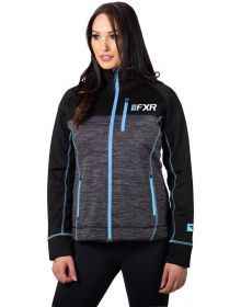 FXR Elevation Tech Zip-Up Womens Sweatshirt Charcoal Heather/Sky Blue