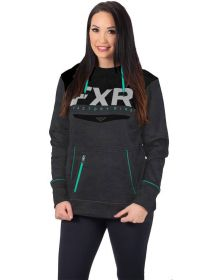 FXR Helium Tech Pullover Womens Sweatshirt Charcoal Heather/Mint