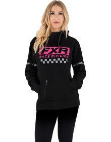 FXR Rave Division Pullover Hoodie Womens Sweatshirt Black/Elec.Pink