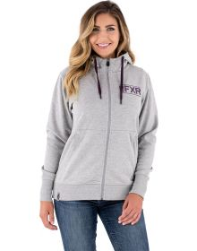 FXR Throttle Womens Hoodie Sweatshirt Heather Grey/Plum